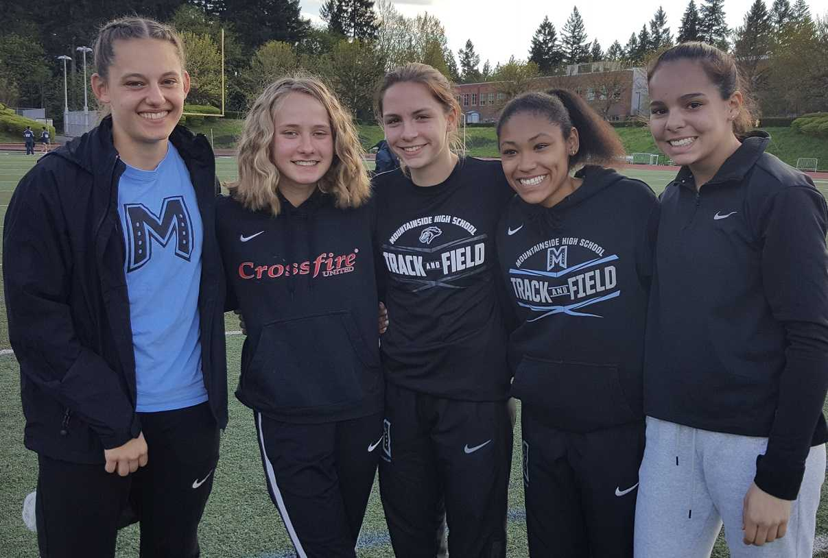 Mountainside is rising behind (from left) Grace Saxton, Isabelle Carrington, Anna Miller, Cierra Thompson and Shalee Gonzalez.