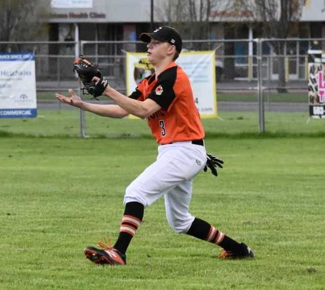 Gladstone outfielder Mitchell Kuhn fields a ball during Tuesday's win over North Marion. (Photo by Jeremy McDonald)