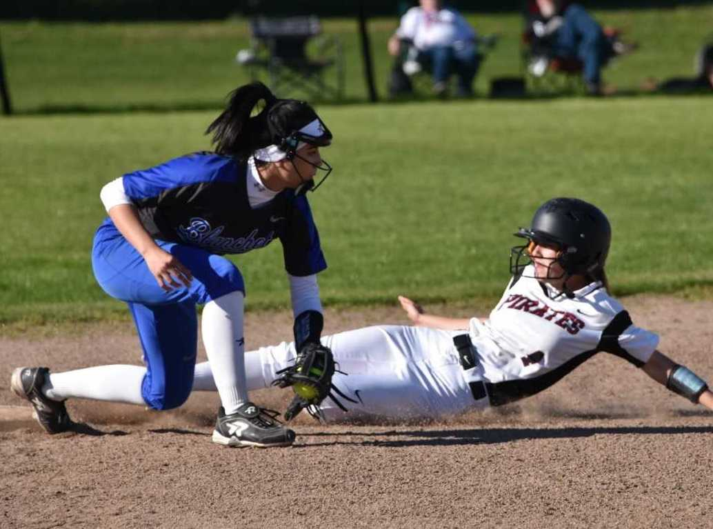 Dayton's Jori Hill slides into third base Tuesday at Blanchet Catholic. (Photo by Jeremy McDonald)