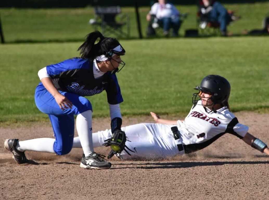 Dayton's Jori Hill slides into third base Tuesday at Blanchet Catholic. (Photo by Jeremy McDonald)