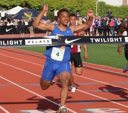 Benson's MIcah Williams crosses the finish line at the Nike Jesuit Twilight Relays on Friday. (Photo courtesy DyeStat)