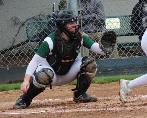 Senior catcher Emma Neuman leads Sheldon in hitting (.500) and home runs (five). (Photo by Tina Sams)