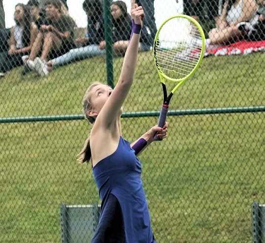 Corvallis senior Anna Kern won her third 5A singles title. (Photo by Jon Olson)