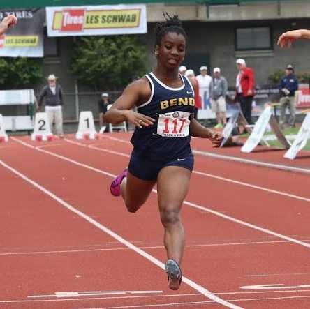 Bend's Maya Hopwood ran 11.60 in the 100 at district. (Kim Spir/DyeStat)