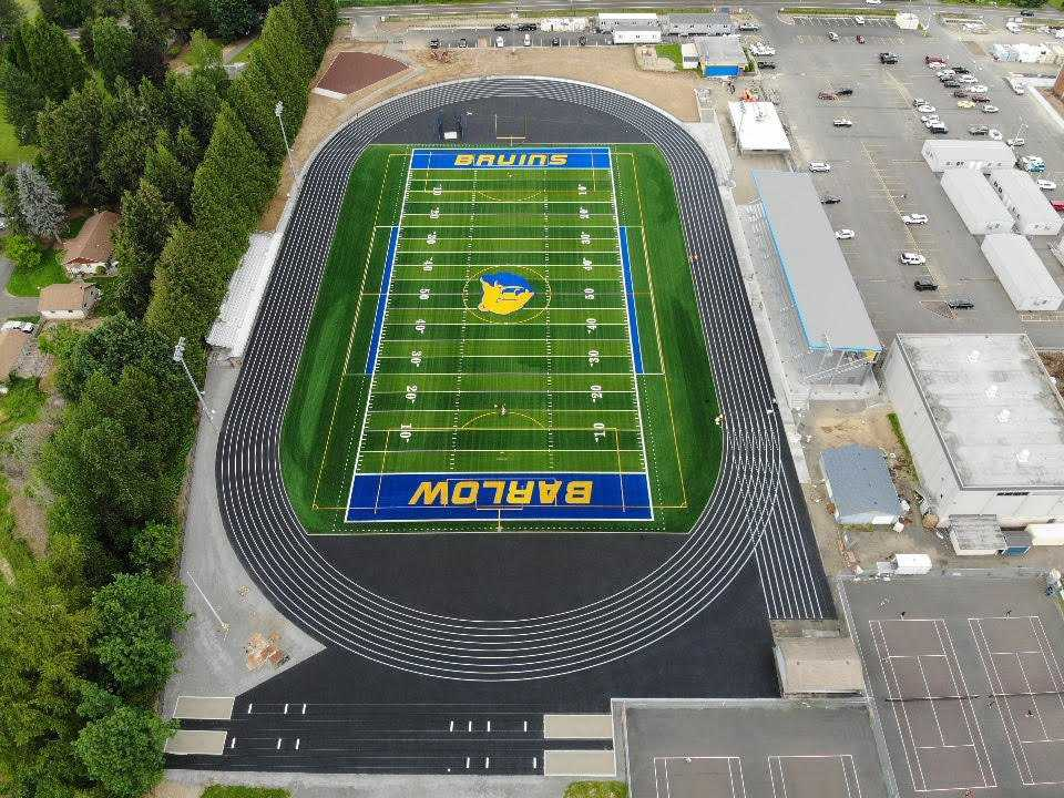 A covered grandstand (right) will seat about 1,500 at Barlow's new football stadium. (Courtesy Barlow HS)