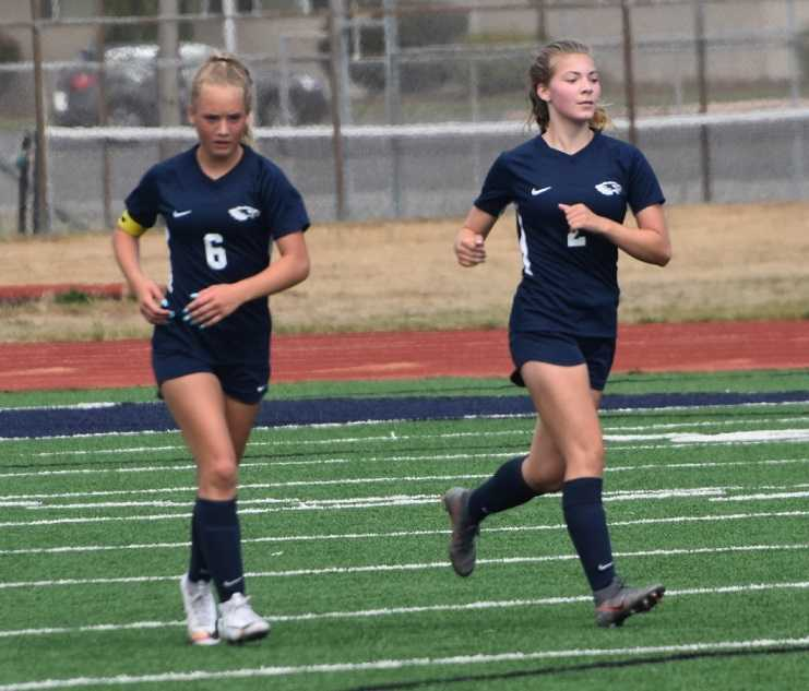 KJ Nyquist (6) and Maddie Pask (2) each scored twice for Stayton on Saturday. (Photo by Jeremy McDonald)